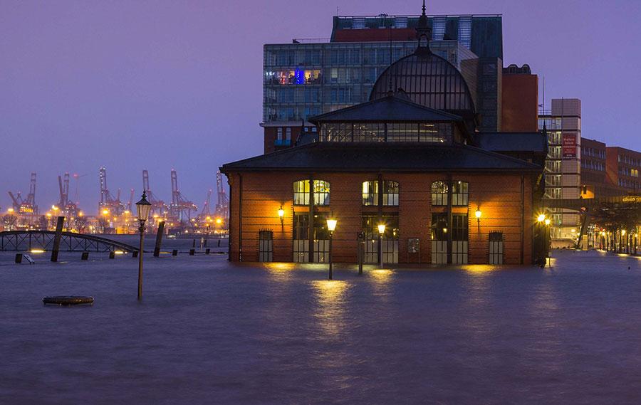 Fischauktionshalle Hamburg Hochwasser